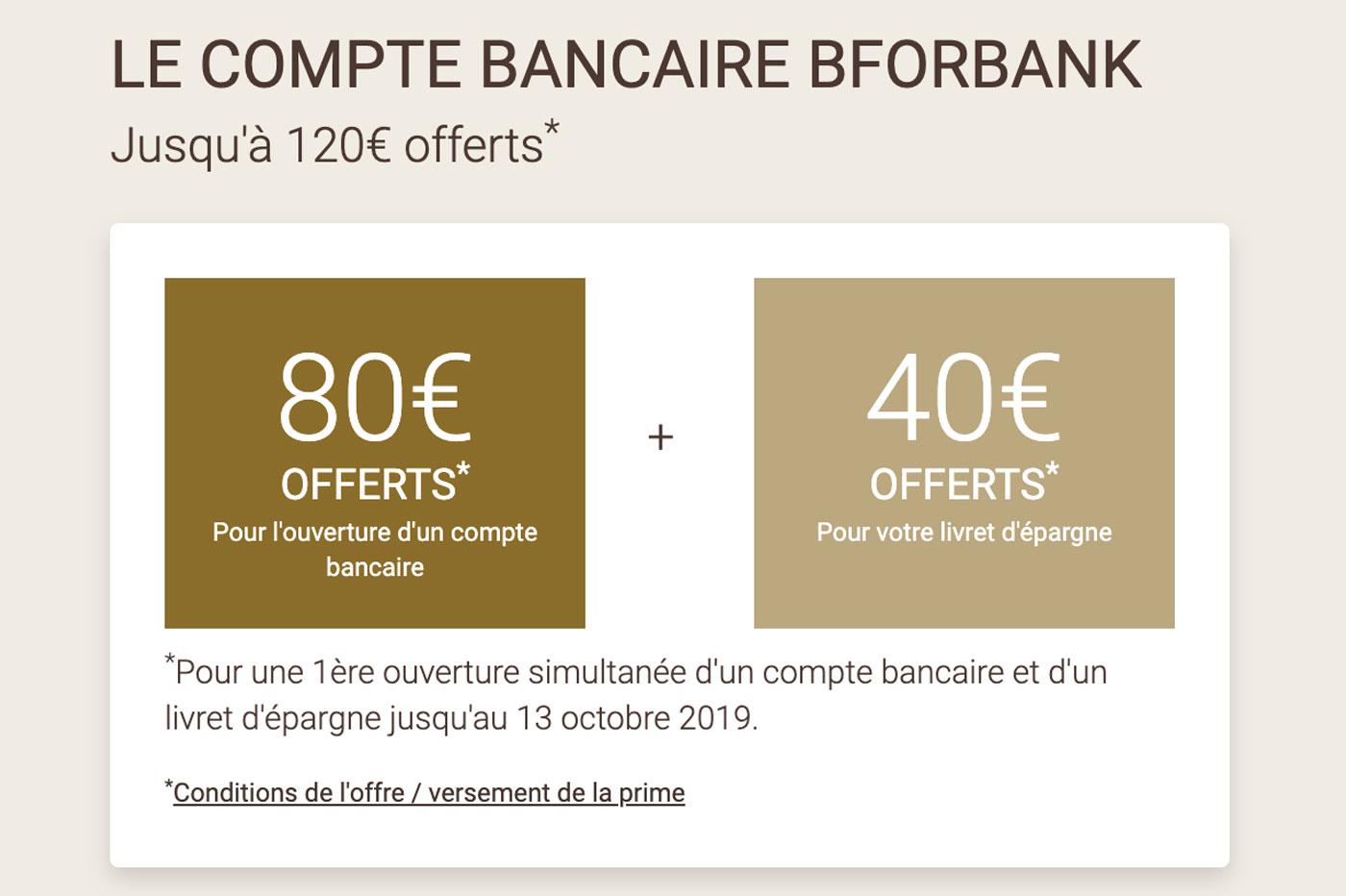 BforBank: 80€ + 40€ de prime pour les clients de la banque en ligne