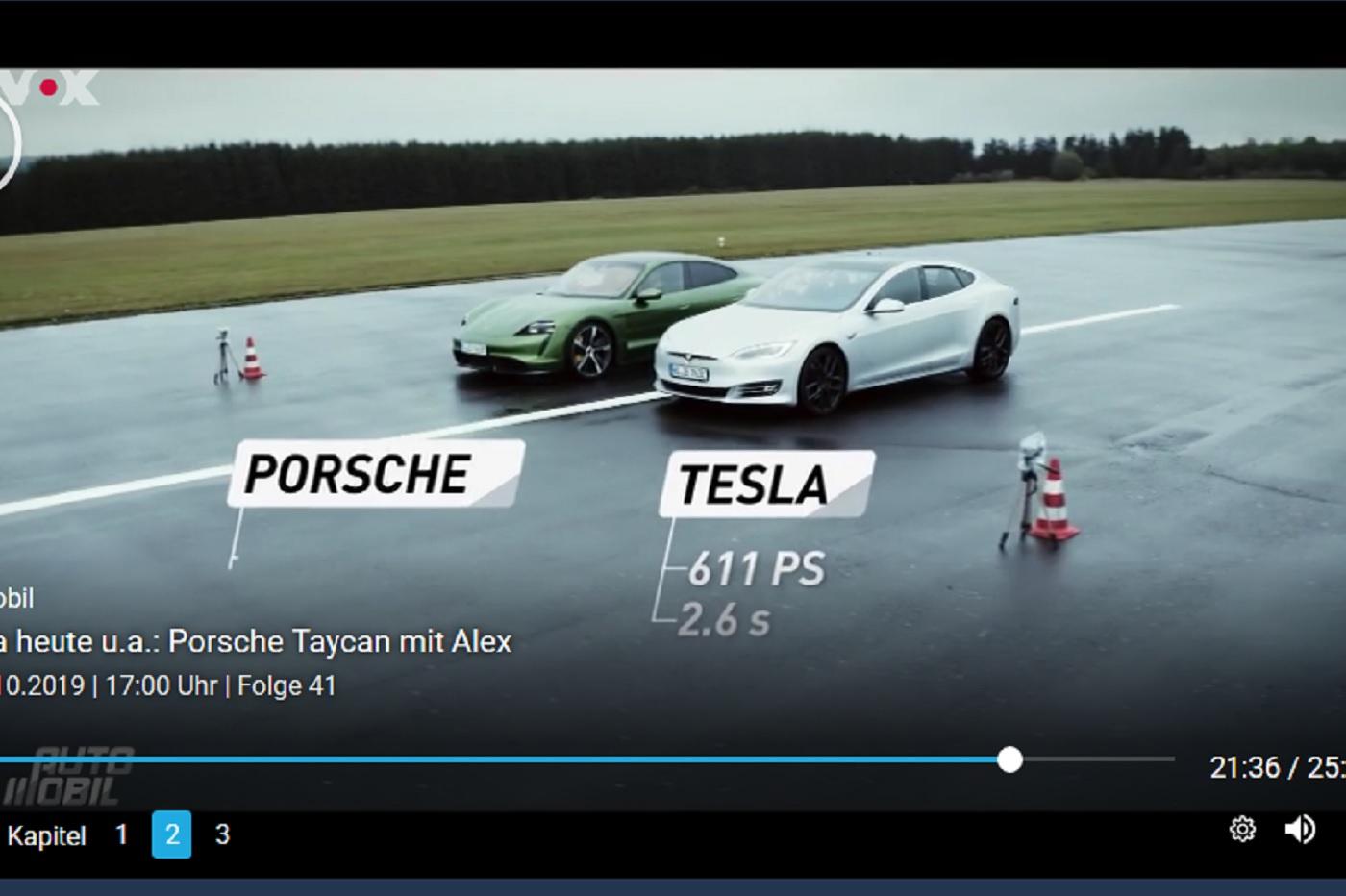 Voici la première confrontation directe entre une Porsche Taycan et une Tesla Model S (vidéo)